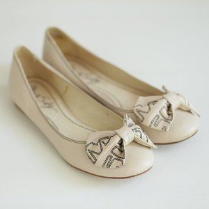 Miss Sixty Classic Nude Leather Flats w Bow